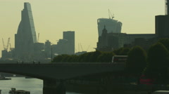 Waterloo Bridge and St Paul's Cathedral pan 4K Stock Footage