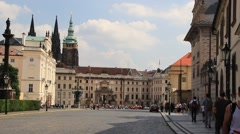 Prague, Hradcany. Prague Castle and St. Vitus Cathedral Stock Footage