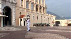 Monte Carlo, Monaco, Palace Guard Patrolling Stock Footage