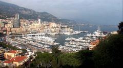 Monte Carlo, Monaco Harbor Zoom in Zoom out Stock Footage