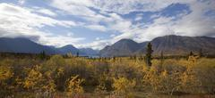 Indian summer, fall colours, autumn, kathleen lake, st. elias mountains, klua Stock Photos