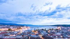 Time lapse 4k night view of the city of Geneva, Lake Geneva Switzerland Stock Footage
