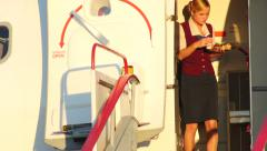 4K UHD Stock footage Pilots and Stewardess Before Takeoff Stock Footage