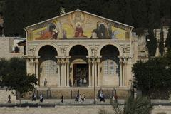basilica of agony, agoniae domini basilica, church of all nations, at the foo - stock photo