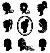 Women heads with beautiful hair  vector Stock Illustration