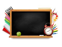 Back to school. blackboard with school supplies. vector. Stock Illustration
