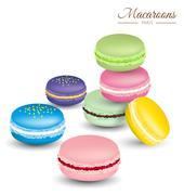 Tasty colorful french macaroons vector Stock Illustration
