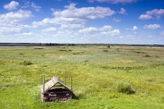 Stock Photo of derelict shed in landscape near kopytkowo, biebrzanski national park, poland,