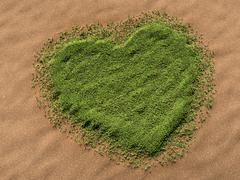 3d-visualisation of a heart-shaped grass area on a sandy surface Stock Illustration