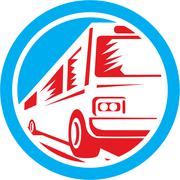 Tourist coach shuttle bus circle retro Stock Illustration