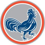 Chicken rooster walking circle retro Stock Illustration