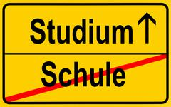 sign, city limit, symbolic image for the transition from schule or school to  - stock photo