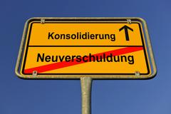 Town city, city limits, konsolidierung and neuverschuldung, german for consol Stock Photos