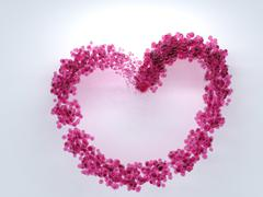 3d-visualisation of pink spheres forming a heart shape Stock Illustration