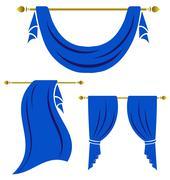 Blue curtain vintage vector set on white background Stock Illustration
