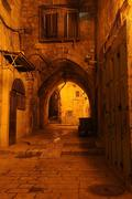 Evening mood in a deserted street in the jewish quarter, old city of jerusale Stock Photos