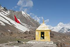 Stock Photo of hinduism, hindu temple, mountain landscape, manali-leh highway, mountain road