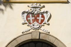 Emblems above the entrance of bystřice castle, baroque-classicist chatea Stock Photos