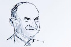 Ferdinand piech, chairman of volkswagen, drawing by gerhard kraus, kriftel, g Stock Illustration