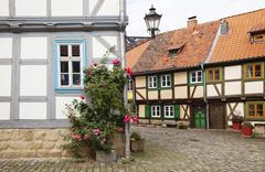 street with half-timbered houses, halberstadt, saxony-anhalt, germany, europe - stock photo