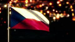 Czech Republic National Flag City Light Night Bokeh Loop Animation - 4K Stock Footage