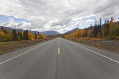 Indian summer along haines road towards haines pass, alaska, leaves in fall c Stock Photos