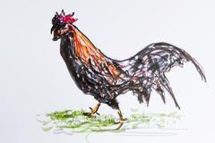 Cock, rooster, drawing by gerhard kraus, kriftel, germany Kuvituskuvat