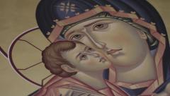 Baby Jesus & Mary | detailed mural Stock Footage