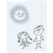 schoolgirl and schoolboy - stock illustration