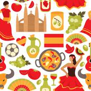 Spain seamless pattern - stock illustration