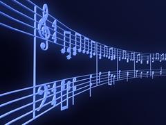 sheet music, conceptual image of music, 3d illustration - stock illustration