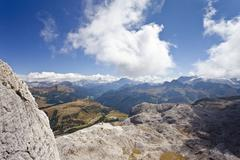 View from boeseekofel fixed rope route, dolomites, fanes range at back, trent Stock Photos