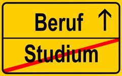 sign, city limit, symbolic image for the transition from studium or academic  - stock photo