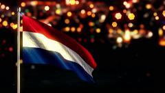 Netherland National Flag City Light Night Bokeh Loop Animation - 4K Stock Footage