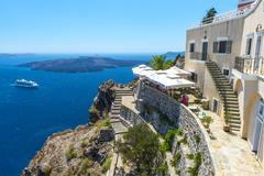 Beautiful view from fira, santorini, greece Stock Photos