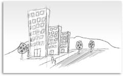 sketch of estate housing with people, streets and trees - stock illustration