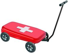 Small red plastic medibox on four wheels handcart Stock Illustration