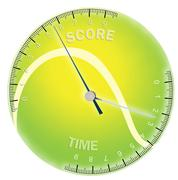 Tennis ball with time and score scales Stock Illustration