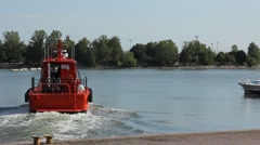 Coastal safety, salvage and rescue boat in Helsinki marina Stock Footage