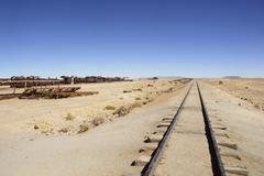 Disused railway line, desert, uyuni, bolivia, south america Stock Photos