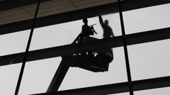 Asian Window Washers Cleaning At The Airport Stock Footage