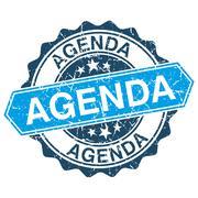 Agenda grungy stamp isolated on white background Stock Illustration