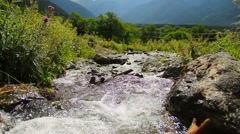 Mountain torrent running rapidly between the rocks, nature Stock Footage