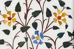 Stock Illustration of semi-precious stones in a marble inlay, jaipur, rajasthan, india, asia