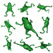 Frogs viewed from different angles, 3d illustration Stock Illustration