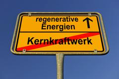 city limits sign with the words regenerative energien and kernkraftwerk, germ - stock photo