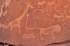 petrograph of the famous lion with the kinked tail, twyfelfontein, namibia, a - stock photo