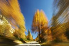 drive through the autumnal dolomites, italy, europe - stock photo