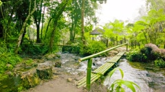 Small bamboo bridge on the tourist trail. thailand, chiang mai Stock Footage