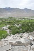 Valley of the indus river, tibetan buddhism, high-angle shot of the spituk mo Stock Photos